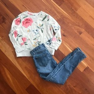Flower Sweatshirt and Jeans